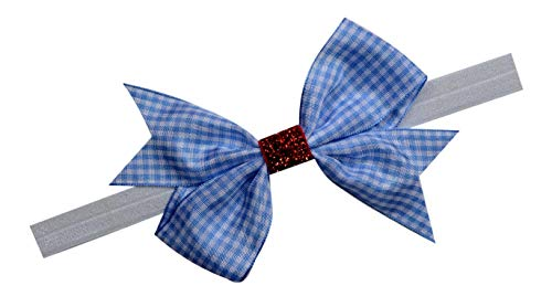 Dorothy Wizard of Oz Gingham and Ruby Red Glitter ELASTIC Costume Headband (12 MONTHS - 5 -