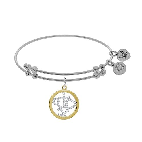 JewelryWeb Brass With Yellow and White Finish Faith Hope Charity With Cubic Zirconia White Angelica Bangle by JewelryWeb