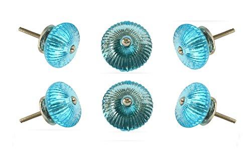 Set of 6 Cabinet Knobs Glass Mix Blue Handmade Drawer Pull Diameter 1.8