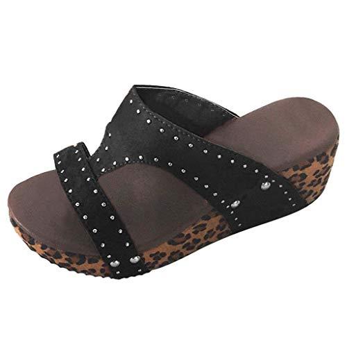 (TANGSen Women Summer Rivet Beach Sandals Ladies Boho Casual Wedges Shoes Thick Bottom Slipper Fashion Shoes)