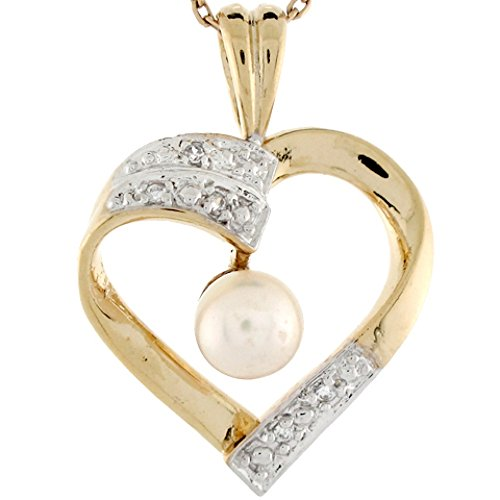 - Jewelry Liquidation 10k Two Toned Gold Cultured Pearl Diamond Accent Floating Heart Ladies Pendant