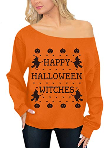 Happy Halloween L (Halloween Womens Sexy Off Shoulder Sweatshirts Cotton Long Sleeve Graphic Casual Top Happy Witches)