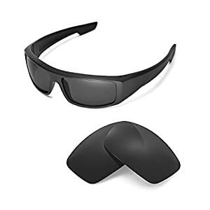 Walleva Replacement Lenses for Spy Optic Logan Sunglasses - Multiple Options Available (Black - Polarized)