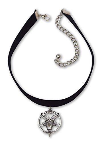 Baphomet Goat Head Satanic Inverted Pentacle Black Velvet Choker Adjustable