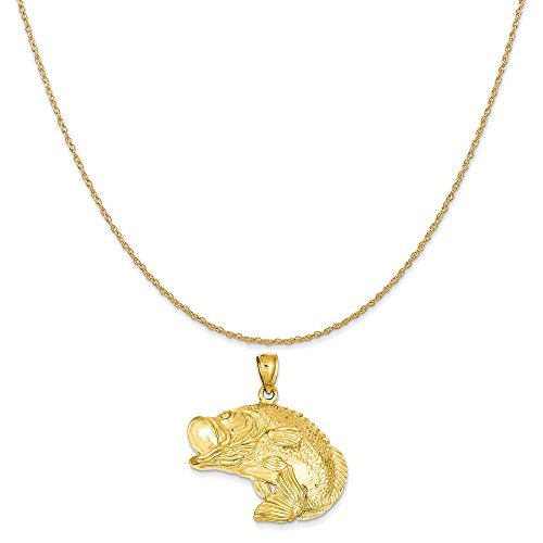 Mireval 14k Yellow Gold Bass Fish Jumping Pendant on a 14K Yellow Gold Rope Chain Necklace, 18