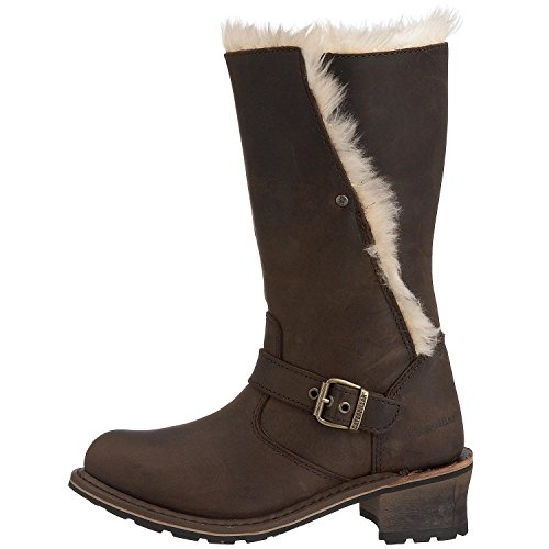 Boots Leather Shoes Dark Anna Womens Brown Hi Caterpillar Fur xp0aFzqwnT