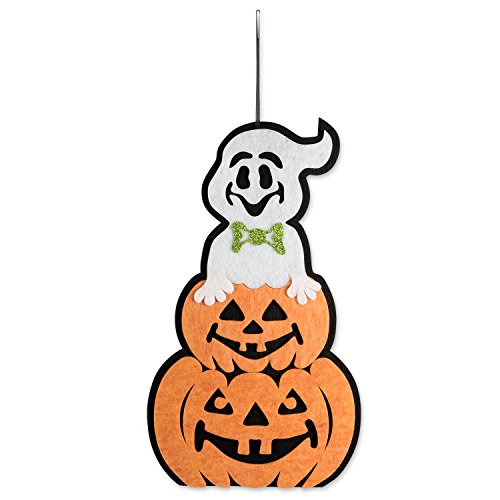 DII Indoor and Outdoor Foam Halloween Hanging Door Decorations and Wall Signs,  For Home, School, Office, Party Decorations - Ghost with Pumpkin]()