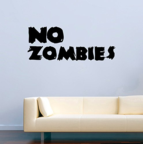 Vinyl Wall Decals Quotes No Zombies Halloween Decor