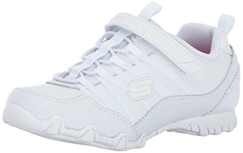 Skechers Kids Girls' Biker II-Grammar Glamour Sneaker,White, 1 M US Little Kid]()