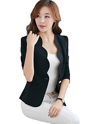 My Wonderful World Women's One Button Boyfriend Office Blazer Medium Black (US 2)