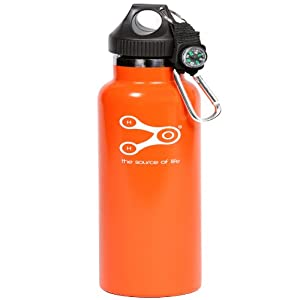 Treksos Insulated Stainless Steel Water Bottle Wide Mouth Vacuum Double Wall BPA Free - 20 Oz / 600 Ml, Plus a Carabiner and a Compass-Rubin Orange