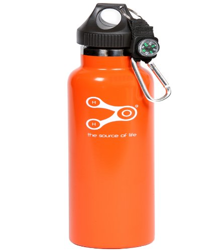 Treksos Insulated Stainless Steel Water Bottle Wide Mouth Vacuum Double Wall BPA Free - 20 Oz / 600 Ml, Plus a Carabiner and a Compass-Rubin Orange (Vacuum Bottle 600)