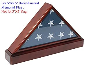Burial/Funeral Flag Display Case Military Shadow Box with Pedestal Stand, Solid Wood, FC60P5-MAH