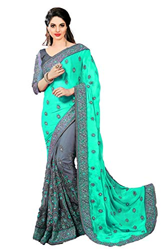 (Nivah Fashion women's Satin & Net Half N Half Embroidery work Sari With Blouse piece K608 (Free, Turquoise))