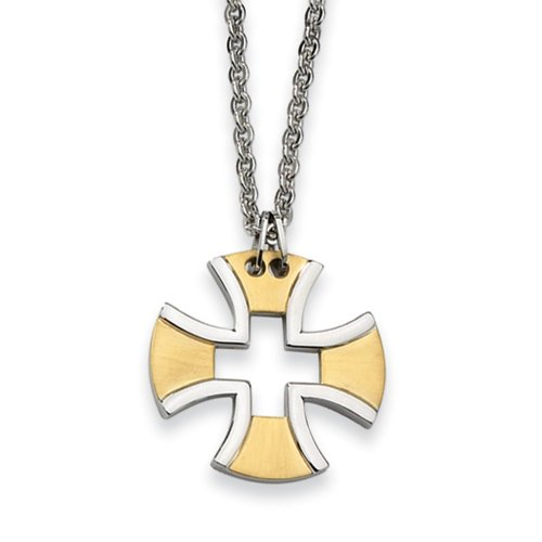 Stainless Steel and Gold Tone Maltese Cross Necklace - 18 (Gold Tone Maltese Cross)