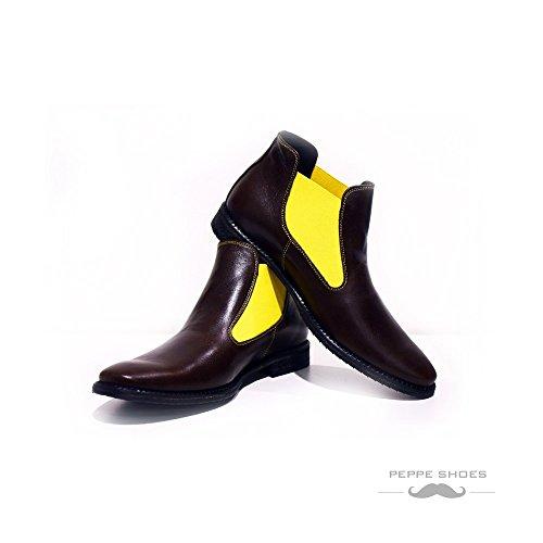 3943fab7d24317 Modello Rawena - Handgemachtes Italienisch Leder Herren Braun Stiefeletten  Chelsea Stiefel - Rindsleder Weiches Leder -