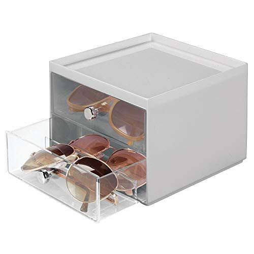 mDesign Stackable Plastic Eye Glass Storage Organizer Box Holder for Sunglasses, Reading Glasses, Accessories - 2 Divided Drawers, Chrome Pulls - ()