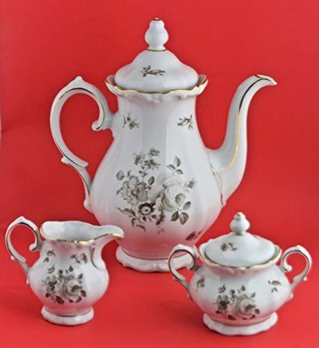 Bavaria Germany Dawn Rose Teapot, Sugar, Creamer Set