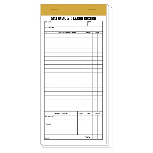 "Compact Material & Labor Record Pad Size: 8 1/3  "" x  4/14  """