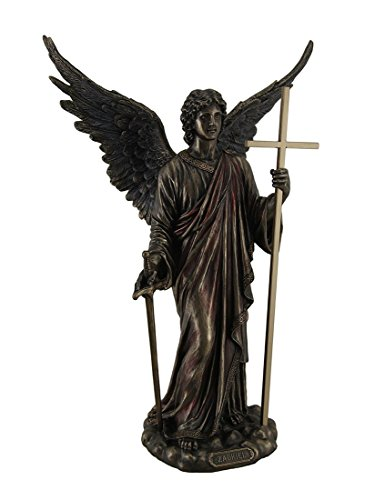 Resin Statues Zadkiel Archangel Of Freedom & Mercy Standing Holding Cross Staff And Sword 9.5 X 13.5 X 5.5 Inches Bronze