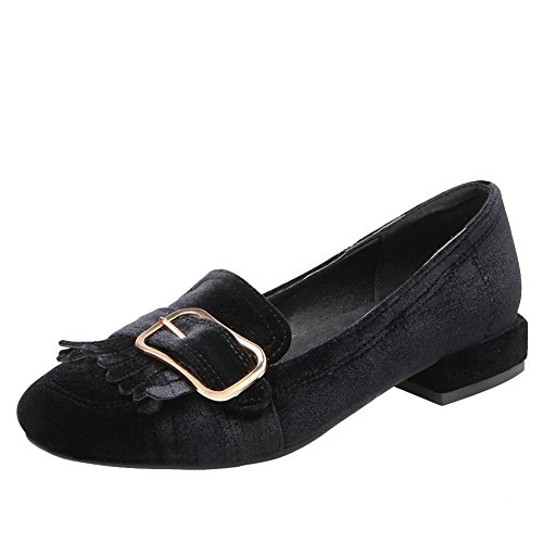 Carolbar Womens Square Toe Fashion Buckle Retro Low Heels Loafers Shoes Black 7FDcL