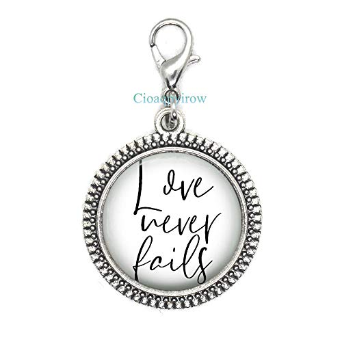 Cioaqpyirow Love Never Fails,Uplifting Gift,Gift Idea,Inspirational Zipper Pull,Quote Zipper Pull,Christian Quote Zipper Pull,Love Gift,Valentines Gift ()