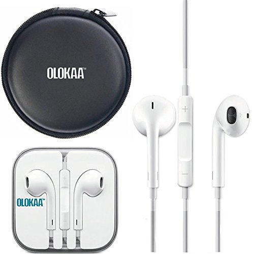 100% Genuine Original Apple Earpods with Olokaa (TM)brand Headphone Case by OLOKAA