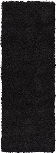 Unique Loom Solo Solid Shag Collection Modern Plush Jet Black Runner Rug (2' 2 x 6' 5)