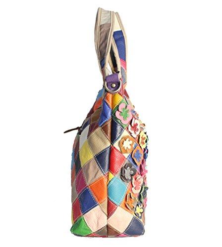 Zongsi 6 Multi Femmes Main Coloré bandoulière Sac sac Couleur Véritable à Grand Totes Couleur à Sacs en cuir à Bandoulière rqrFRn5Hx
