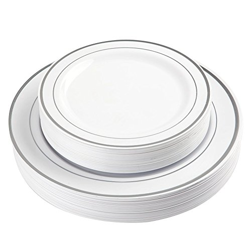 -   BloominGoods   5 0 Silver Rimmed Plastic Plates  | Disposable White Heavy Duty  Plates | 25 Dinner ,  25 Dessert/Appetizer Plates   | Premium Combo Disposable Dinnerware Set |  For Weddings, Parties
