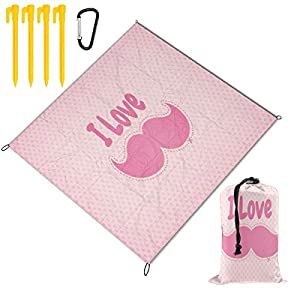 I Love Cute Mustache Large Picnic Blanket Outdoor Beach Handy Mat for Travel, Camping, Hiking, Water-Resistant Backing Handy Camping BBQ Hiking Mat 78 x 57 inch