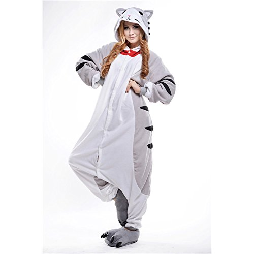 (Amurleopard Coverall Pajamas Hoodie Animal Costumes Cosplay Grey Cats XL)