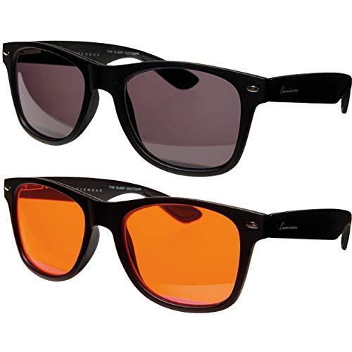 Luminere UV/Blue Light Blocking Glasses - Unisex 2 Pairs CLASSIC BLACK - Sleep better, beat jet lag and boost your energy! Premium blue blocking light therapy glasses