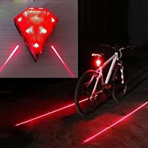 1 Pc - Bicycle Waterproof 3-Mode 8-LED Colorful Bicycle Laser Tail Light (Color : Red)