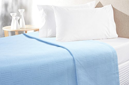 Bamboo Throw Woven (Organic Ringspun Natural Cotton Super Soft Thermal Multi-Purpose Throw, Deluxe Light-Weight Breathable Woven Sheet Waffle Blanket Premium Plain Design Superior Quality Warm Bed Blankets Lapis-Twin)