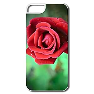 IPhone 5S Covers, Red Rose Cases For IPhone 5/5S - White Hard Plastic