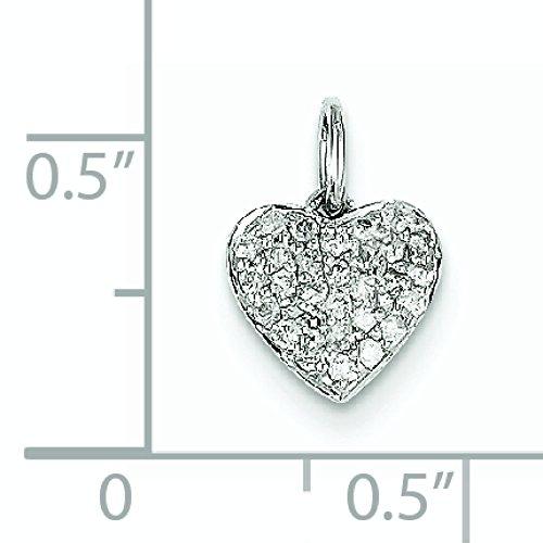 Or blanc 14 carats Diamant Pendentif Coeur-JewelryWeb