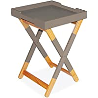 dar Living Wood Tray Side Table, Warm Gray