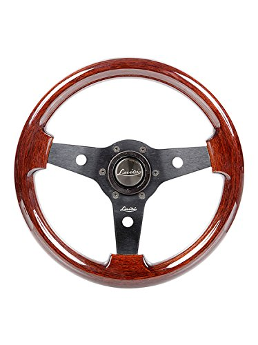 Luisi Italy Imola Mahogany Wood Racing Vintage Steering Wheel 310 mm 12.20 inch Black Spokes Handcrafted In Italy 33102 ()