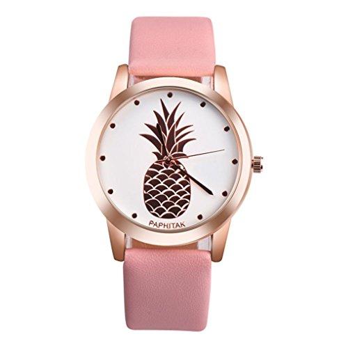 PAPHITAK Lovers' Couple Crystal Diamond Fashion Pineapple Design Faux Leather Band Analog Alloy Quartz Wrist Watch Bracelet Bangle (Pink) Faux Leather Bangle Watch