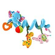 Gimilife TY Multi-function Bedroom Decoration Infant Baby Activity Spiral Bed & Stroller Toy & Travel Activity Toy (Blue Elephant)
