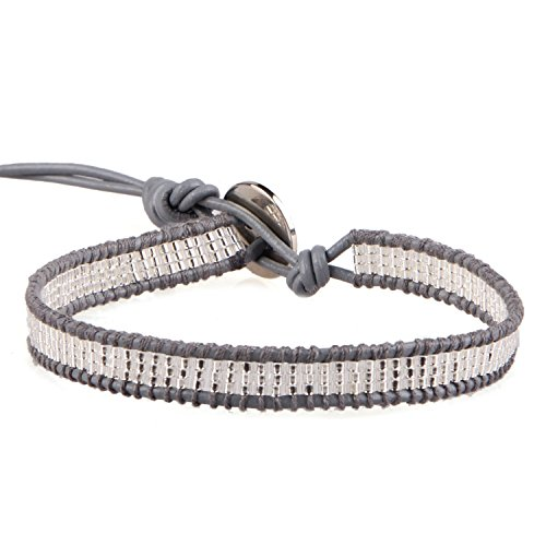 KELITCH Silver-Plated Seed Beaded Single Wrap Bracelet Rope on Gray Leather