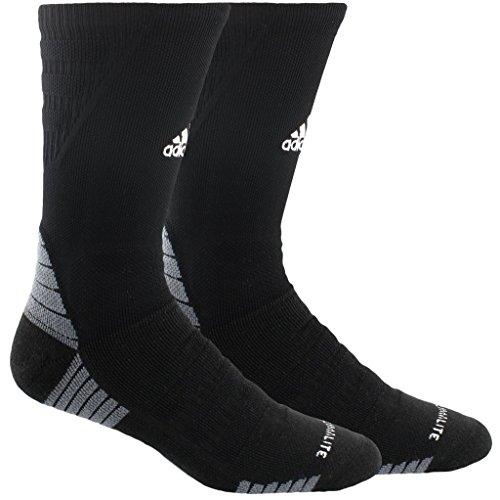 (adidas Alphaskin Maximum Cushioned Crew Socks (1-Pack), black/white/Onix,)