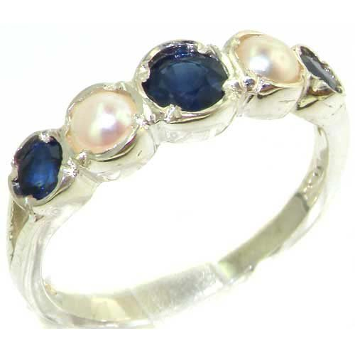 925 Sterling Silver Natural Sapphire and Cultured Pearl Womens Band Ring - Sizes 4 to 12 Available -