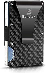 Belletek Carbon Fiber RFID Wallet/Money Clip/Wallet for Men-Credit Card Holder(1 Pack) …