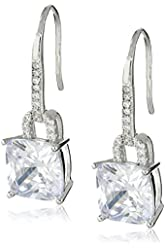 Sterling Silver 9mm Cushion Cut Cubic Zirconia Drop Earrings
