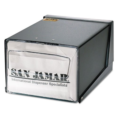 San Jamar Countertop Napkin Dispenser, 7-5/8 x 11 x 5-1/2, Capacity: 300 Napkins, Black - Includes one napkin dispenser. by San Jamar by Mueangpan