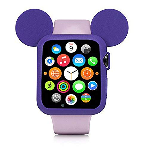 Navor Soft Silicone Protective Case Disney Character Mickey Mouse Ears Compatible with Apple Watch 42mm Series 1/2/3 - Purple