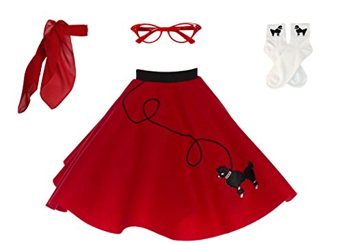 Hip Hop 50s Shop 4 Piece Child Poodle Skirt Costume Set, Size Medium Red