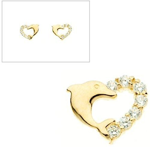 10KT Gold Heart With Dolphin and CZ Earrings by Styles By Breezy